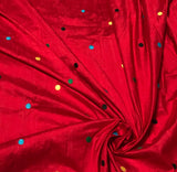 Red with Embroidered Polka Dots - Silk Dupioni Fabric