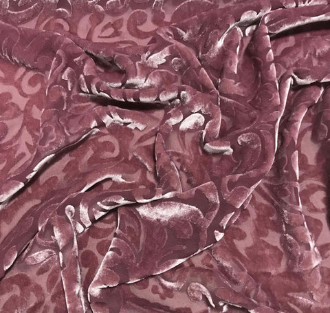 Antique Mauve Scroll - Hand Dyed Burnout Silk Velvet