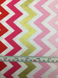 Robert Kaufman - Remix Metallic Large Chevron Fuchsia - Cotton Quilting Fabric