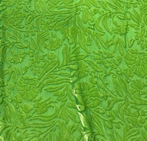 Apple Green Floral - Hand Dyed Burnout Silk Velvet