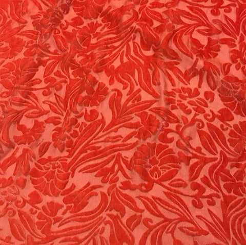 Blood Orange Floral - Hand Dyed Burnout Silk Velvet