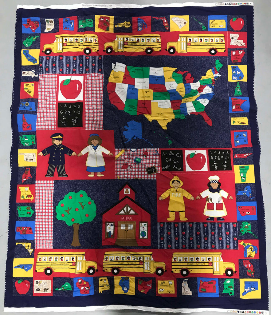 School Stuff Panel - Cotton Fabric