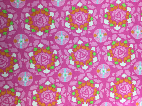 Pink & Orange Roses - Cotton Linen Fabric
