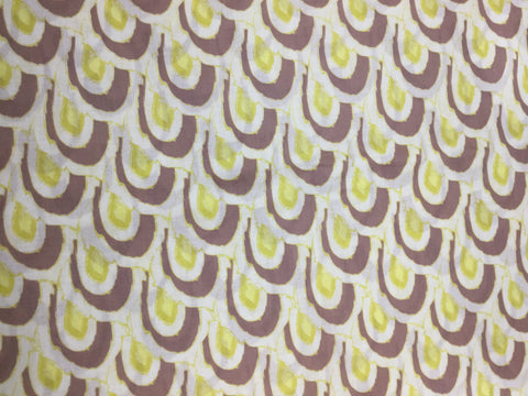 Cream Yellow Mauve Geometric - Cotton Voile Lawn
