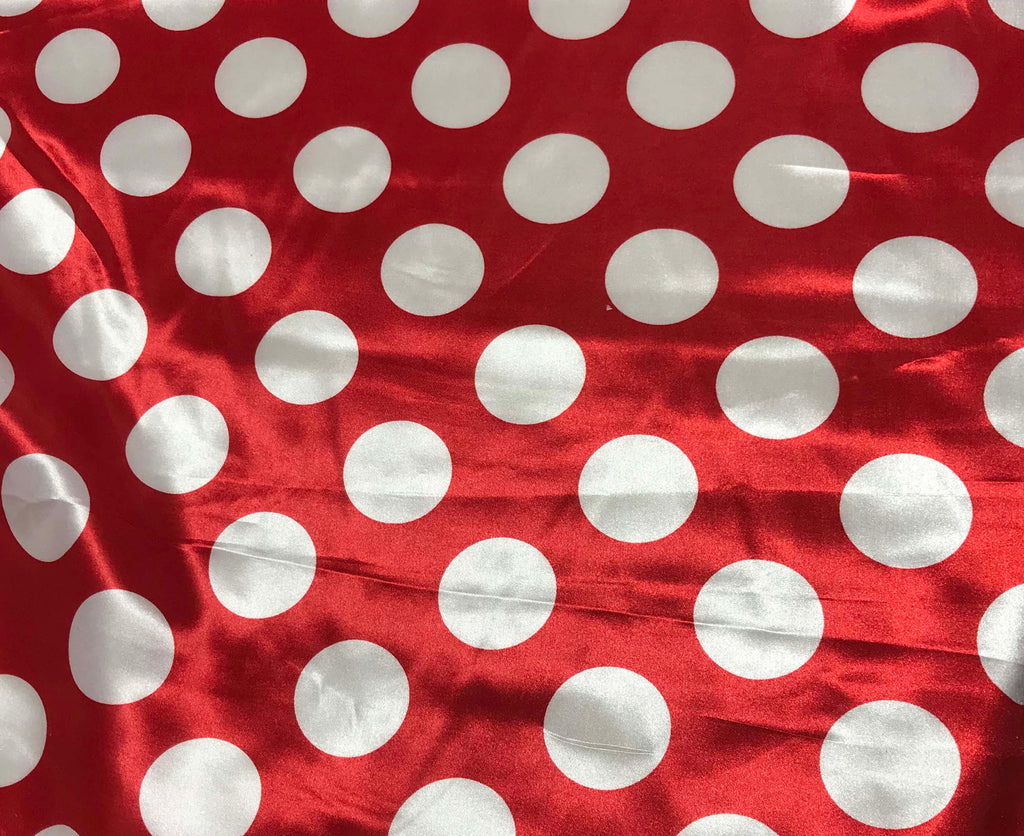 White on Red Polka Dots - Faux Silk Charmeuse Satin Fabric