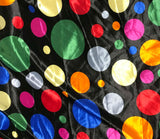 Multi Colored Polka Dots - Faux Silk Charmeuse Satin Fabric