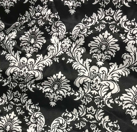 Black & White Damask - Faux Silk Charmeuse Satin Fabric