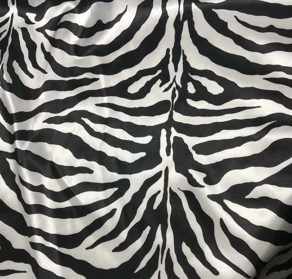 Black & White Zebra Stripes - Faux Silk Charmeuse Satin Fabric
