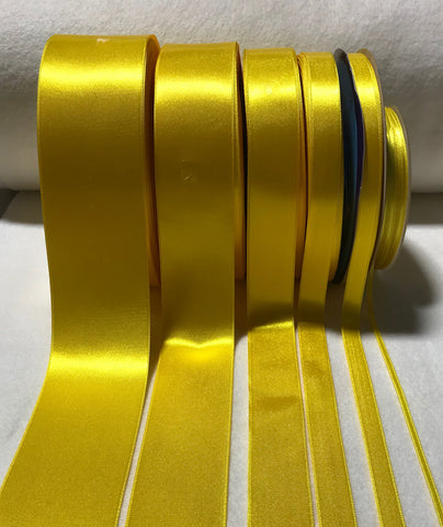 Bright Yellow Double Sided Satin Ribbon - Made in France (6 Widths to choose from)