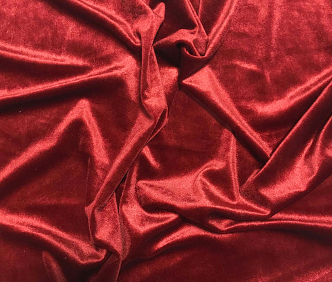 Brick Red - Stretch Polyester Velvet Fabric