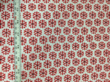 Benartex - Knitty Kitty Jax Snowflake Flower Red - Cotton Quilting Fabric