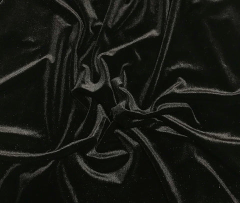Black - Stretch Polyester Velvet Fabric