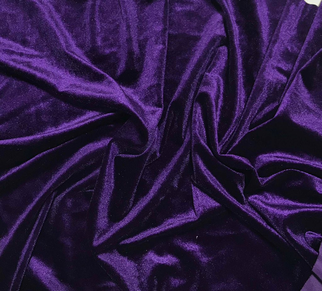 Eggplant Purple - Stretch Polyester Velvet Fabric