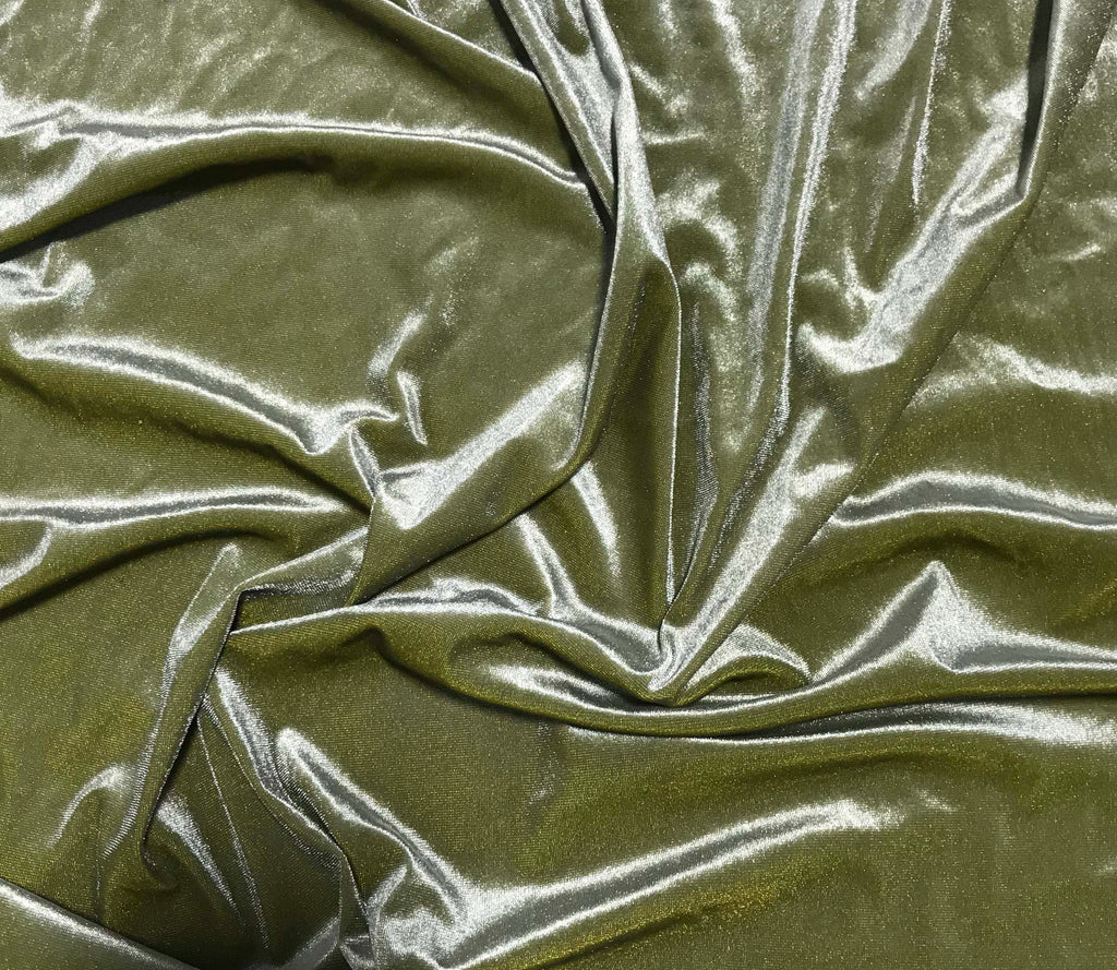 Iridescent Peridot/ Olive Green - Stretch Polyester Velvet Fabric