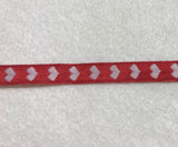 "Hearts Ribbon Trim Made in France 7/16"" wide (2 Colors to choose from)"