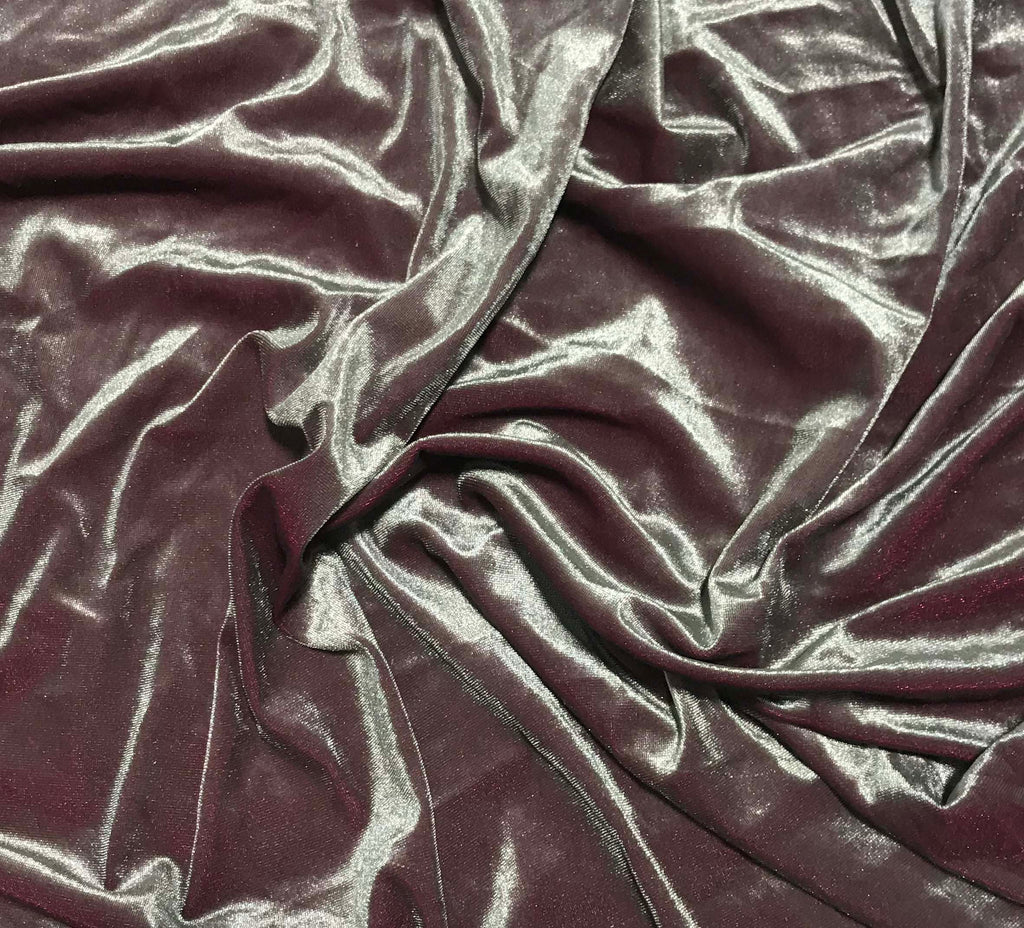 Iridescent Pewter/ Burgundy - Stretch Polyester Velvet Fabric
