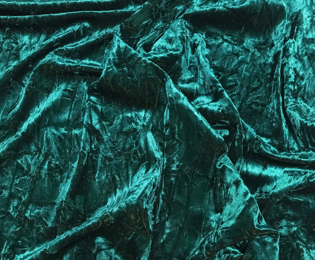 Iridescent Teal/ Olive Green - Stretch Polyester Crushed Velvet Fabric
