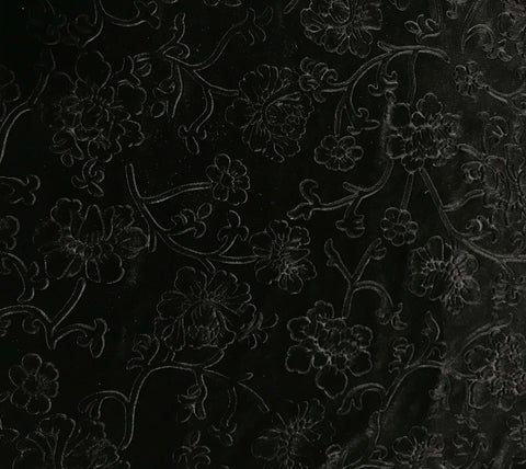 Black Flower Branches - Embossed Stretch Poly Velvet Fabric