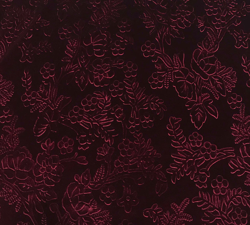 Maroon Flower Branches - Embossed Stretch Poly Velvet Fabric