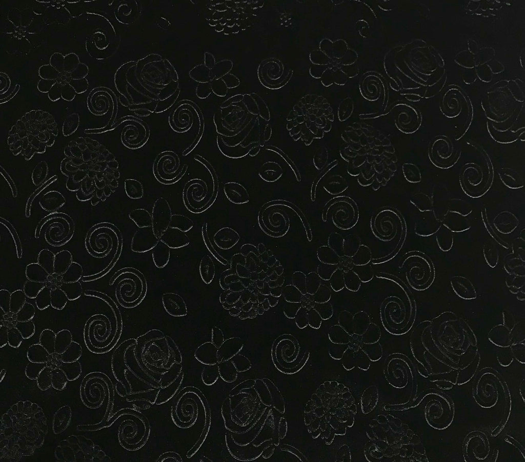 Black Roses & Daisies Floral - Embossed Stretch Poly Velvet Fabric