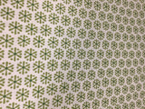 Benartex - Knitty Kitty Jax Snowflake Flower Cream & Green - Cotton Quilting
