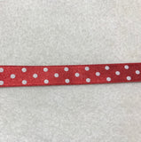 "Double Sided Polka Dot Satin Ribbon Trim Made in France 9/16"" wide (9 Colors to choose from)"
