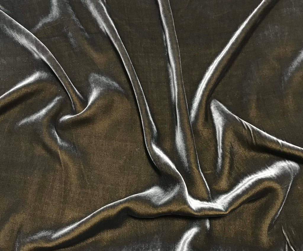 Iridescent Golden Gray - Silk Velvet Fabric