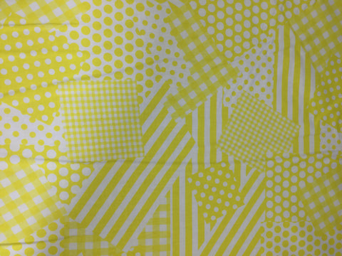 Yellow & White Patchwork - Basic Training - Cotton Quilting Fabric