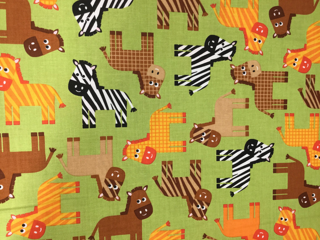Urban Zoologie Zebras Bermuda Green - Anne Kelle for Kaufman - Cotton Quilting Fabric
