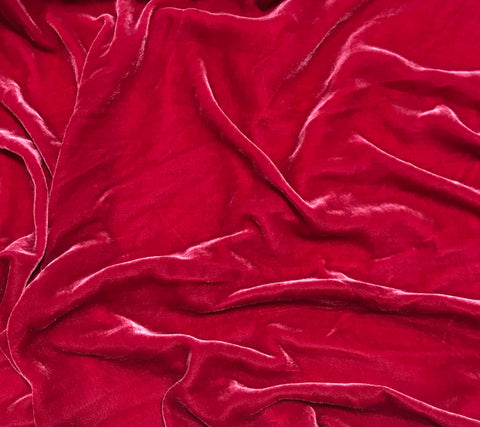 Hot Pink - Silk Velvet Fabric