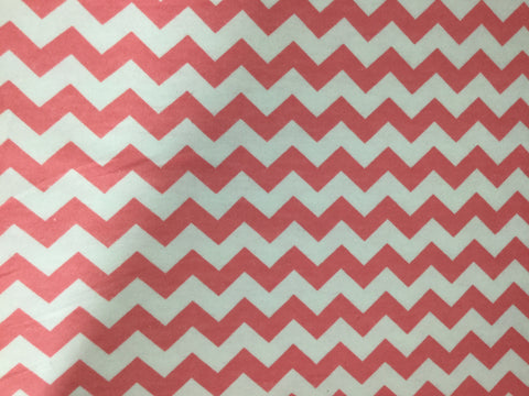 Coral Pink & White Chevron - David Textiles - Cotton Flannel Fabric