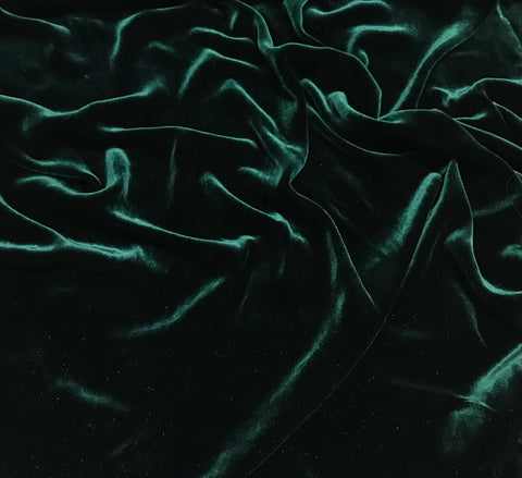 Dark Green - Silk Velvet Fabric