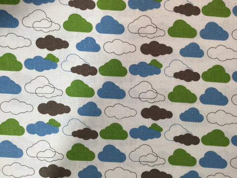 Blue Green & Brown Clouds - Rayon/Linen Fabric