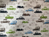 Blue Green & Brown Cars - Rayon/Linen Fabric