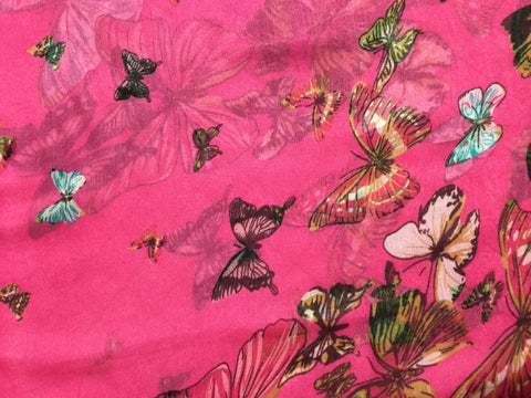 Fuchsia Pink with Butterflies - Polyester Gauze Voile