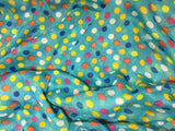 Blue with Multi Polka Dots - Polyester Gauze Voile