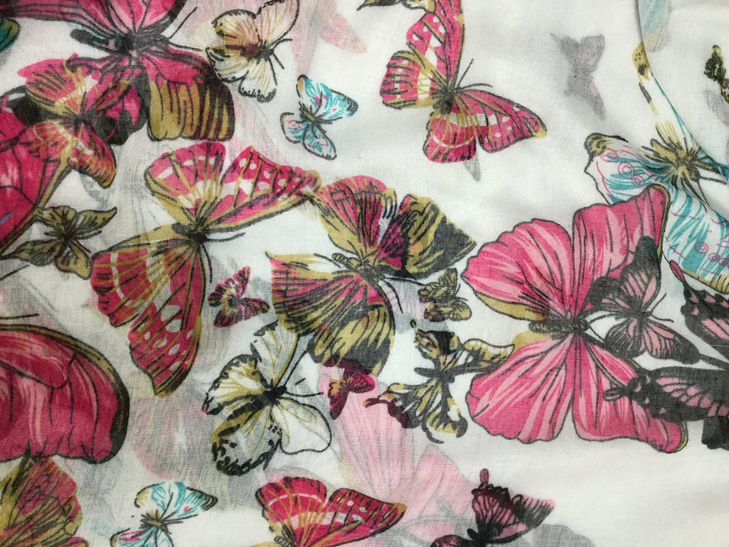 White with Butterflies - Polyester Gauze Voile