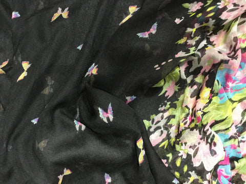 Black Butterfly Floral - Polyester Gauze Voile