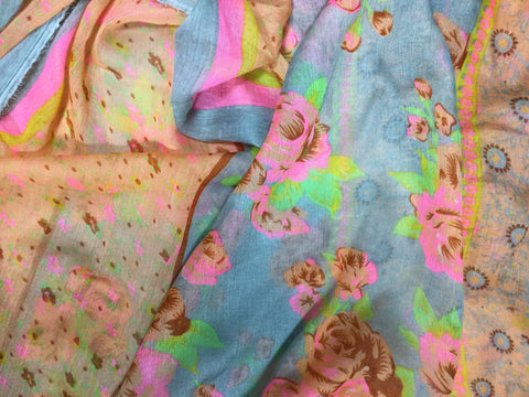 Peach Blue Pink Floral Stripe - Polyester Gauze Voile Fabric