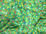 Green with Multi Polka Dots - Polyester Gauze Voile