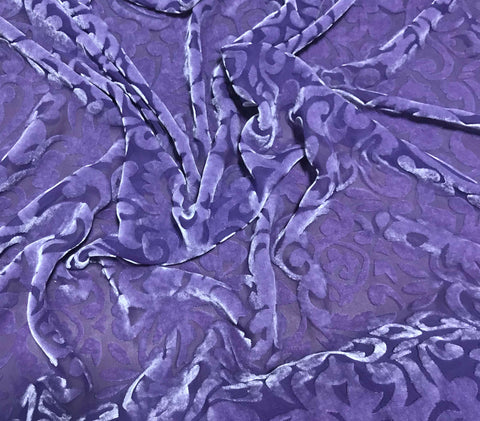 Lavender Scroll - Hand Dyed Burnout Silk Velvet Fabric