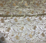 Gold Floral Paisley - Faux Silk Brocade Fabric
