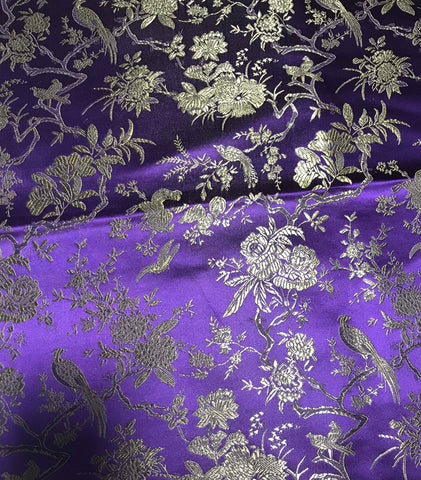 Purple & Gold Birds Floral - Faux Silk Brocade Fabric