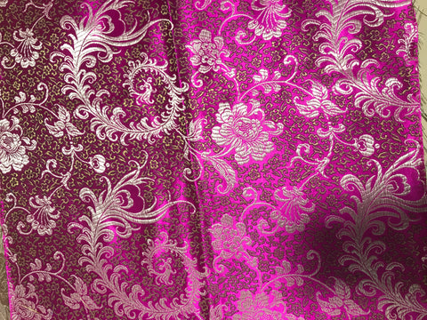 Magenta & Gold Feather Floral - Faux Silk Brocade Fabric