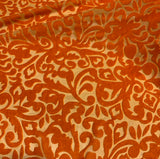 Deep Orange Scroll - Hand Dyed Burnout Silk Velvet