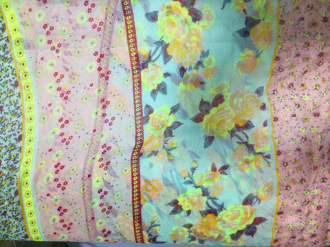Turquoise & Rose Pink Floral Stripe - Polyester Gauze Voile Fabric
