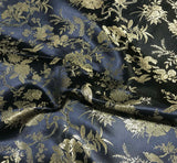 Black & Gold Birds Floral - Faux Silk Brocade Fabric