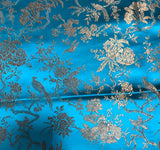Turquoise & Gold Birds Floral - Faux Silk Brocade Fabric