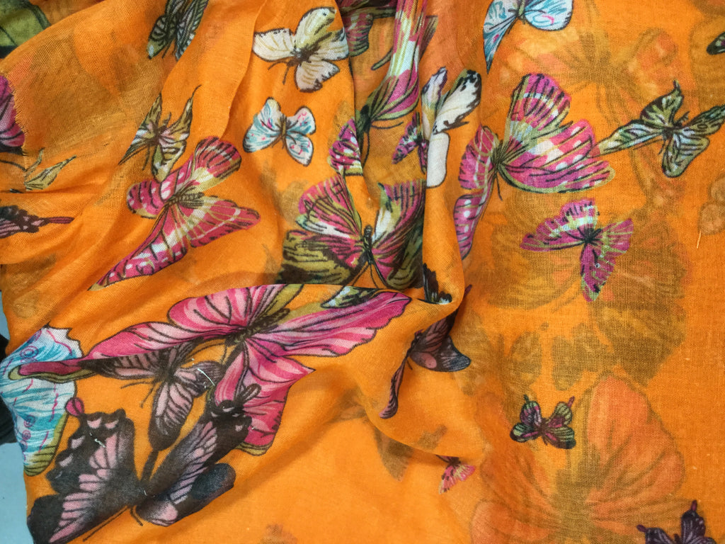 Orange with Butterflies - Polyester Gauze Voile
