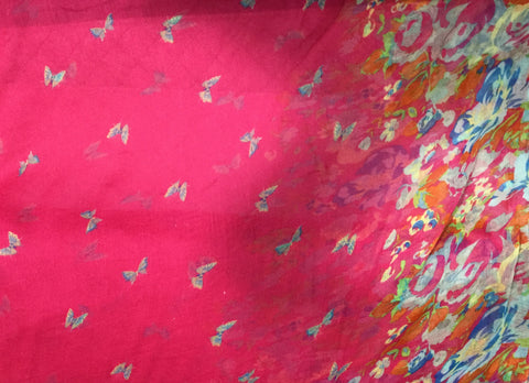 Fuchsia Pink Butterfly Floral - Polyester Gauze Voile